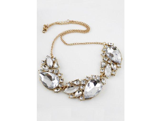 Stylový zlatý náhrdelník s průhledným kamínky