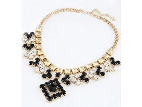 Zlatý náhrdelník s černýmí kamínky a květy