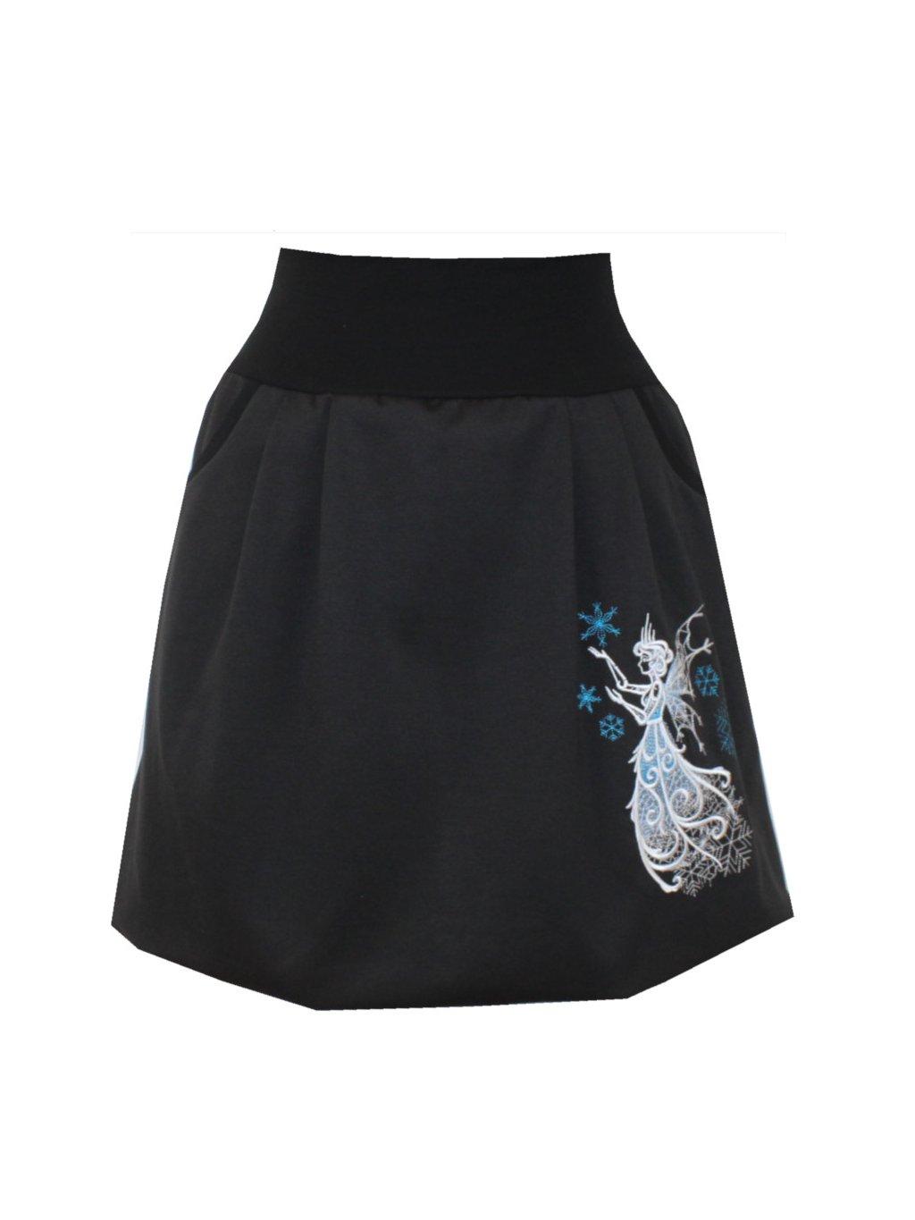 Černá balonová sukně, víla a vločky, kapsy