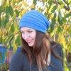 Pletená čepice, modrá s proužky