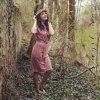 Starorůžové šaty, volnější střih s páskem, GOTS Smyslmá