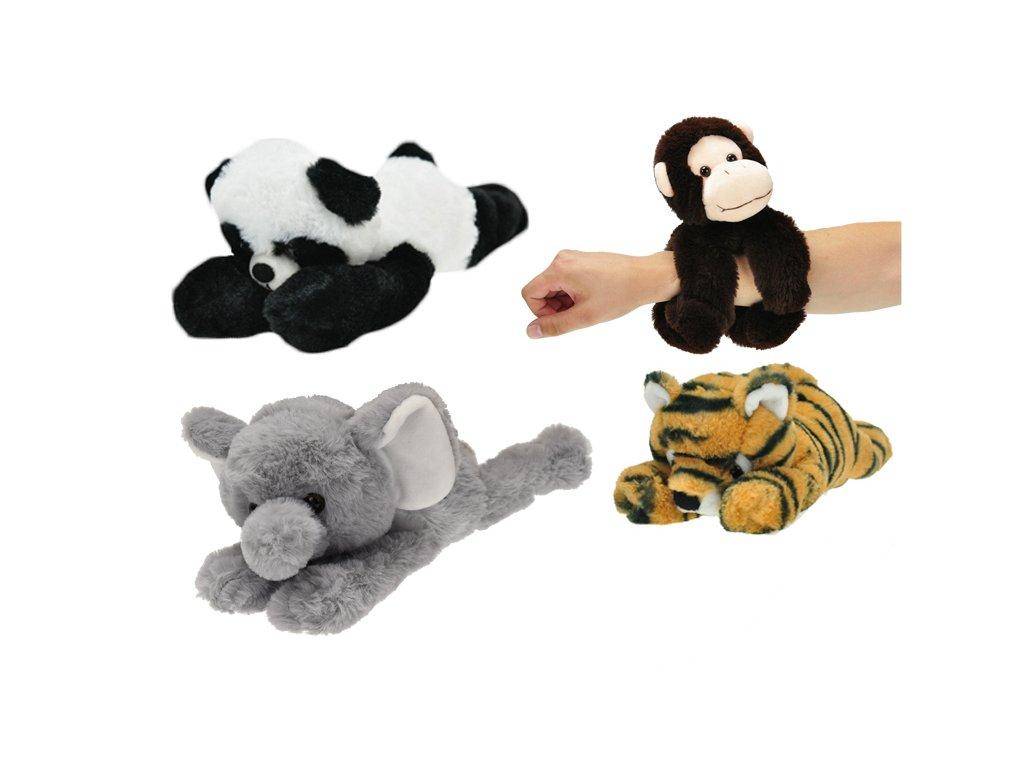 Zvířátko plyšové s rolujícími pásky 30 cm 0m+  4 druhy (panda, opice, slon, nebo tygr)