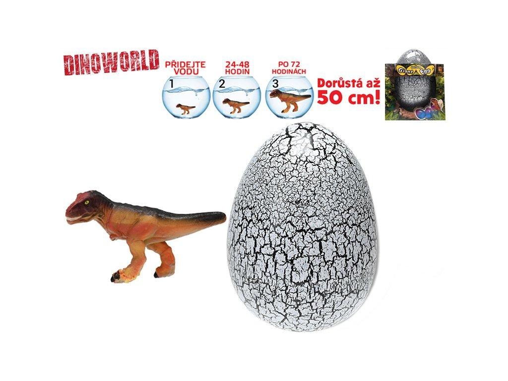 Dinosaurus líhnoucí a rostoucí v šedém vajíčku MEGA 20cm