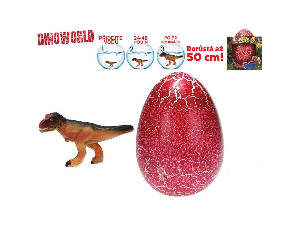 Dinosaurus líhnoucí a rostoucí v červeném vajíčku MEGA 20cm