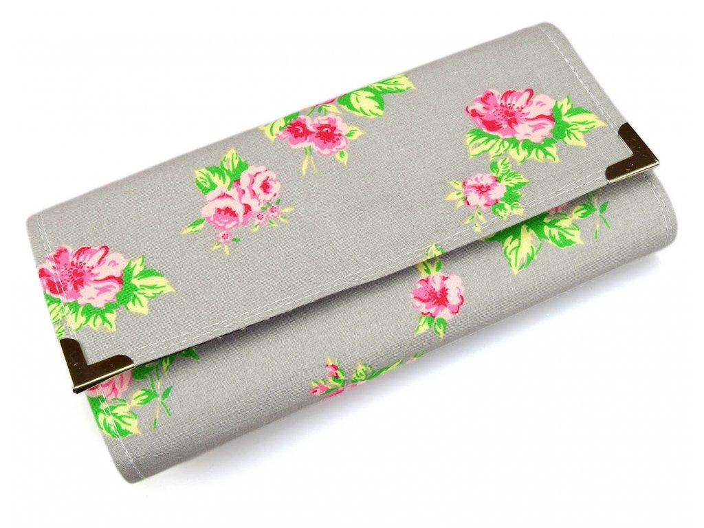 peněženka - šedé růže