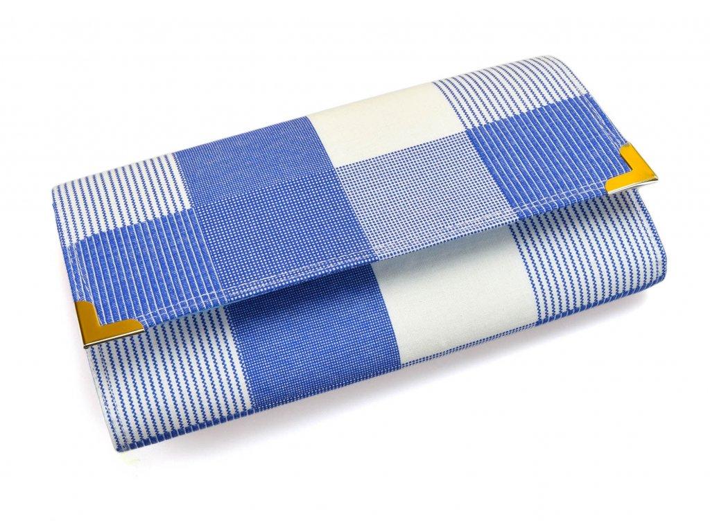 peněženka v modro-bílé
