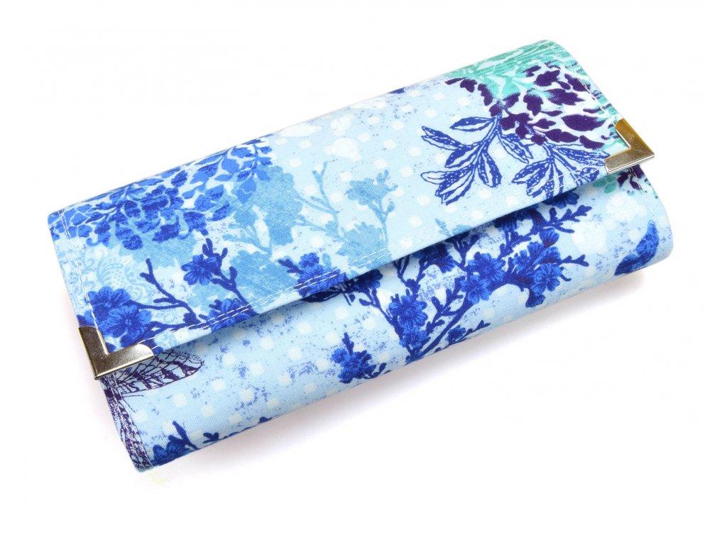 peněženka - modré květy