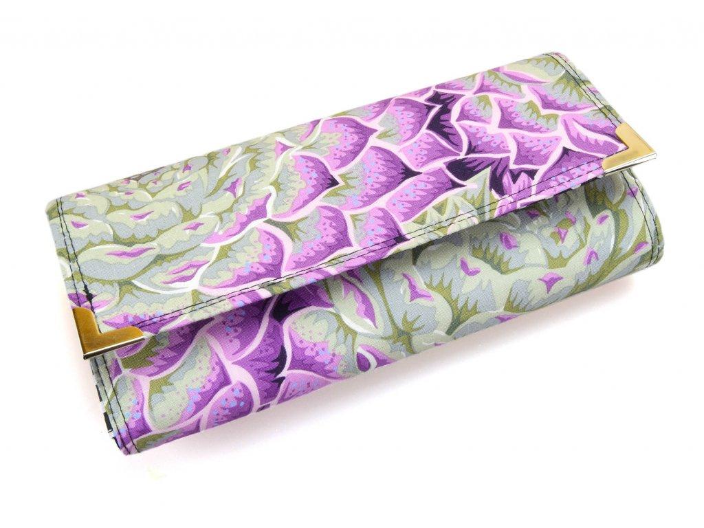 peněženka - fialové květy