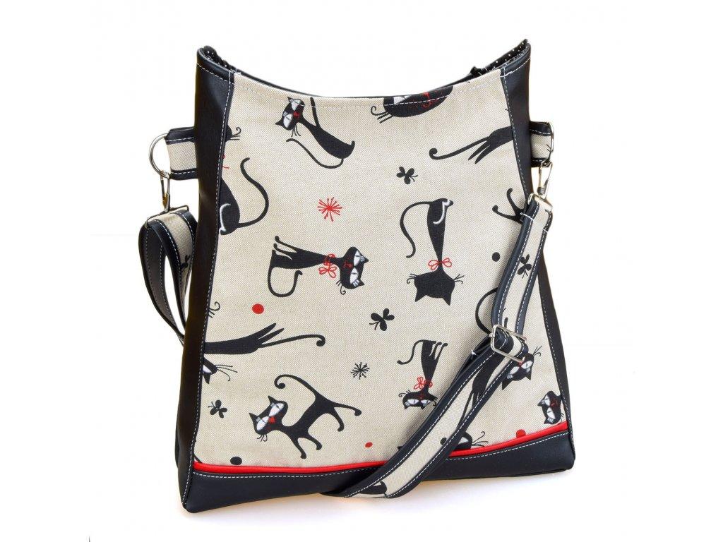 Crossbody černá kabelka - Kočky