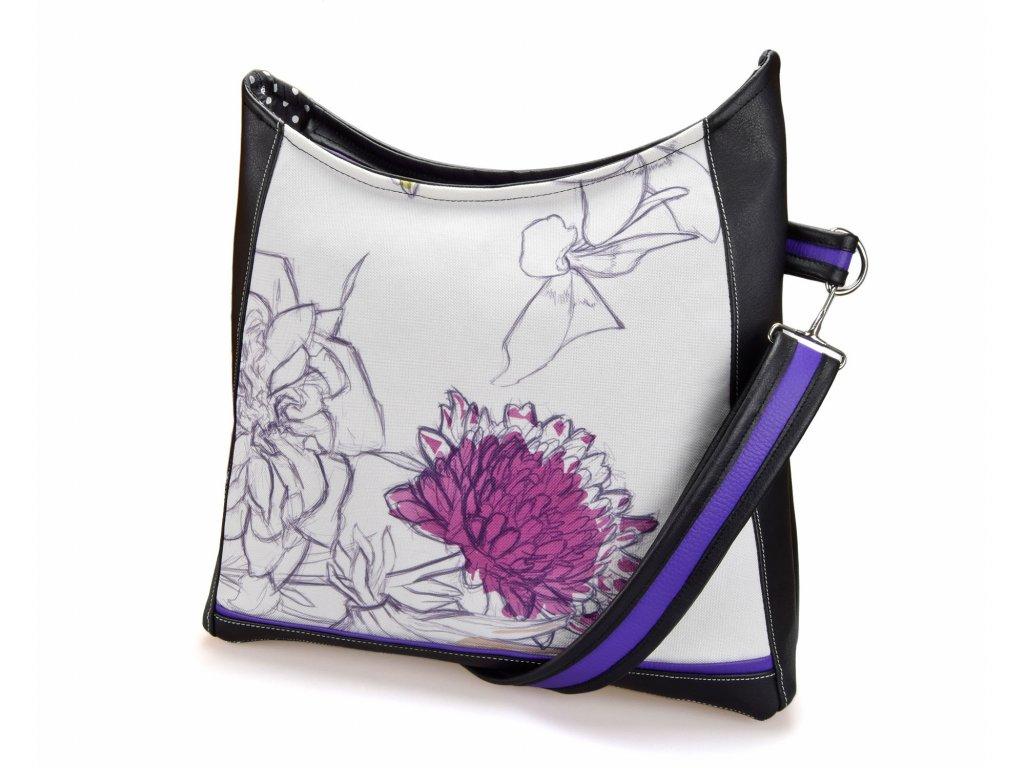 Crossbody černá kabelka - Fialový květ