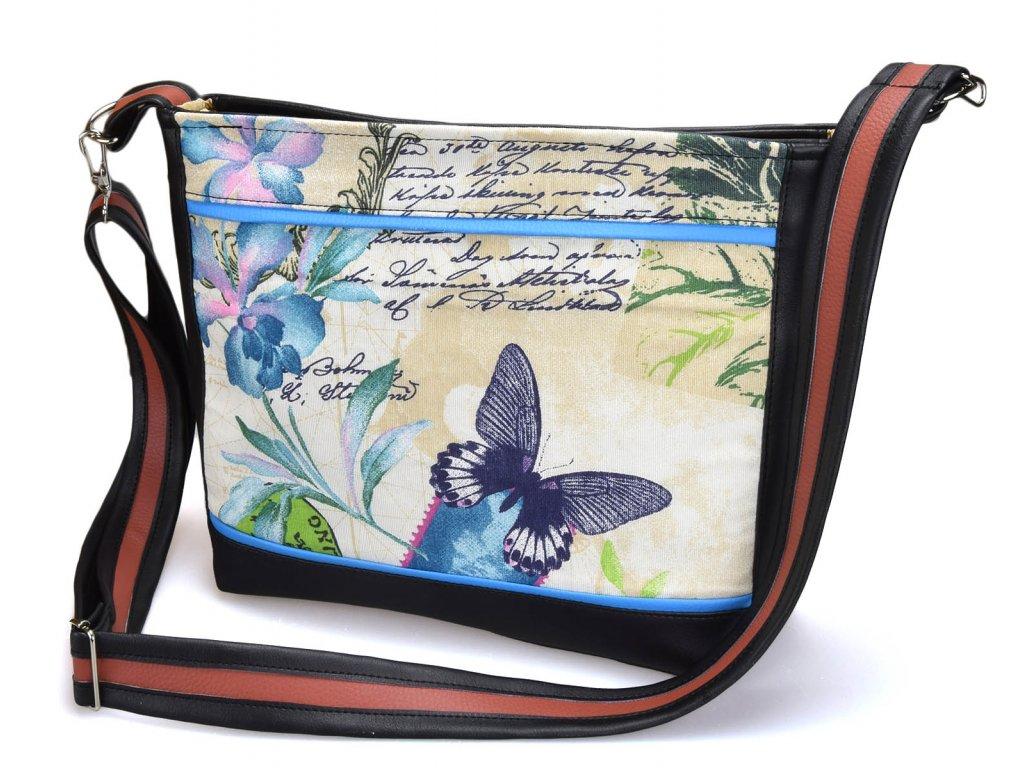 Crossbody černá kabelka - Modrý motýl