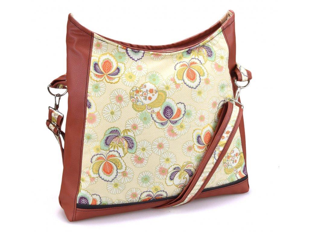 Crossbody hnědá kabelka - Barevné květy