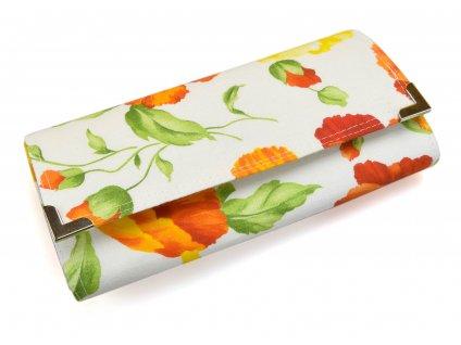 peněženka - oranžové květy