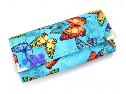 modrá motýlí peněženka