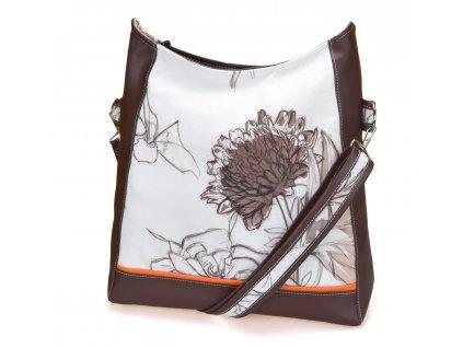 Crossbody kabelka - Hnědé květy