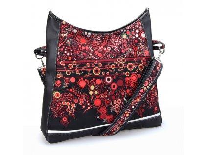 Černá crossbody kabelka - Rudé kruhy