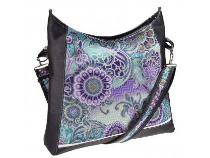 Crossbody černá kabelka - Fialové květy