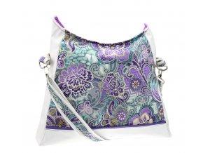 Velká bílá kabelka - Fialové květy