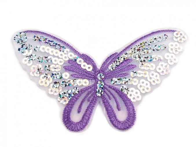 nažehlovaci motyl flitry fialovy