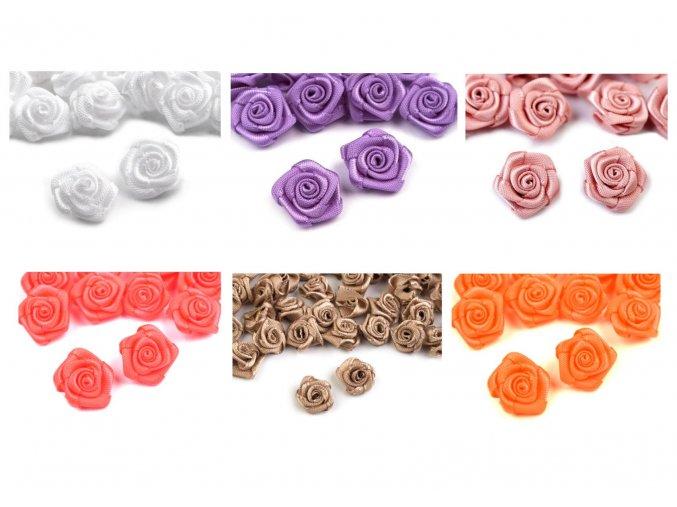 saténové květy se srdcem mix 2