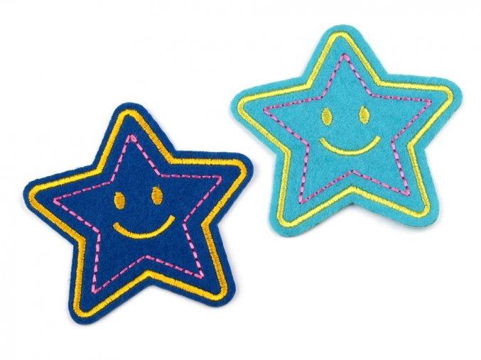 nažehlovačka hvezda modra vysita 2