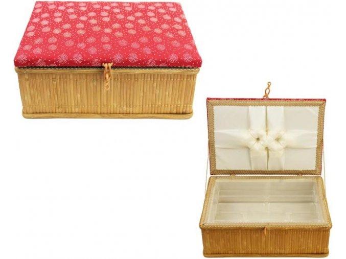 kazeta bambus textil cervena