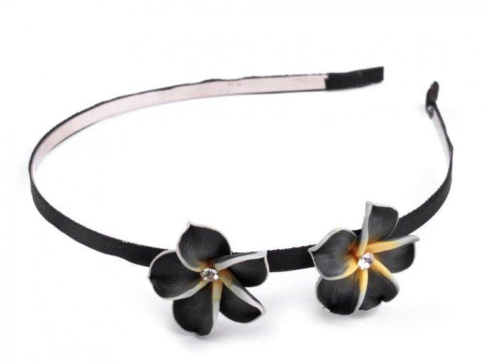 čelenka černa fimo kvety