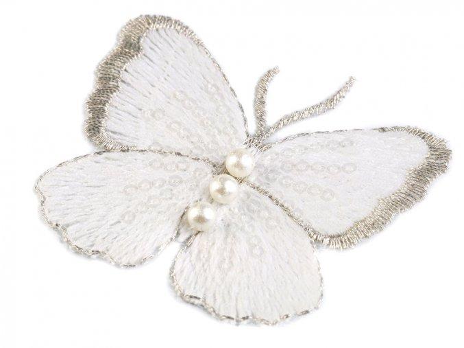 nášivka motýl bílý