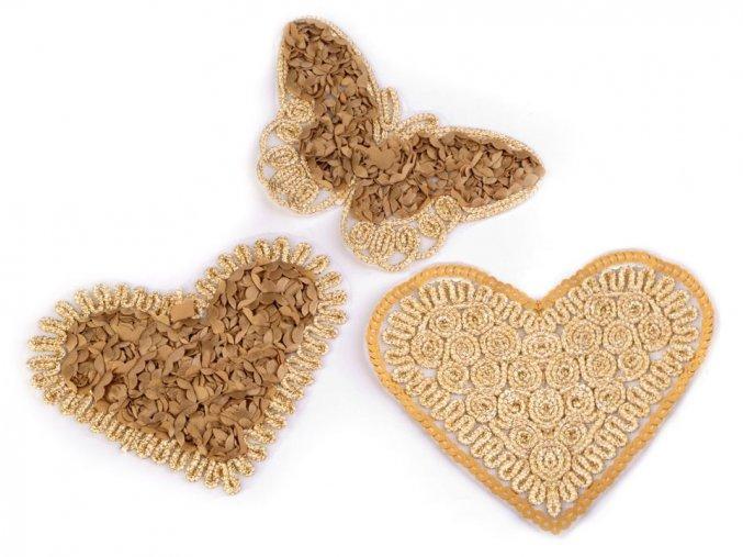 nazehlovacka motyl, srdce zlaty lurex mix