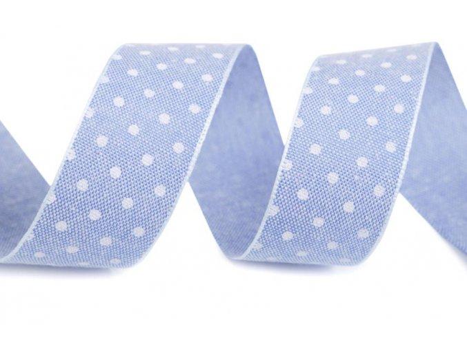 stuha bavlněna modra puntik