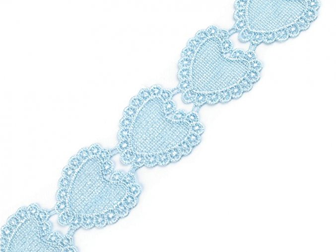 vdušná krajka, nášivka srdce modrá