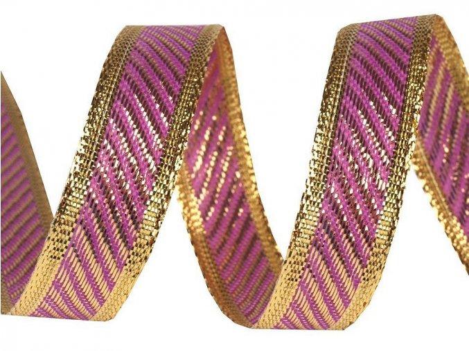 stuha fialová zlatý lurex