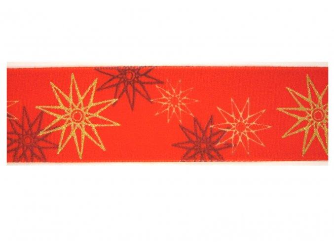 stuha červená hvezdy 40 mm
