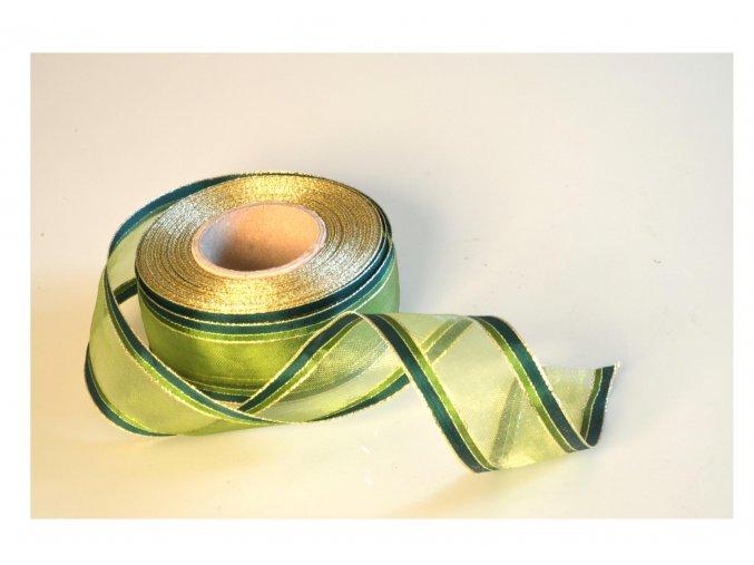 stuha zelenozlata pruh