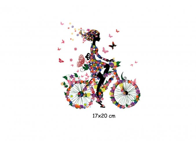 nažehlovavcí obrázek dívka na kole s motýli
