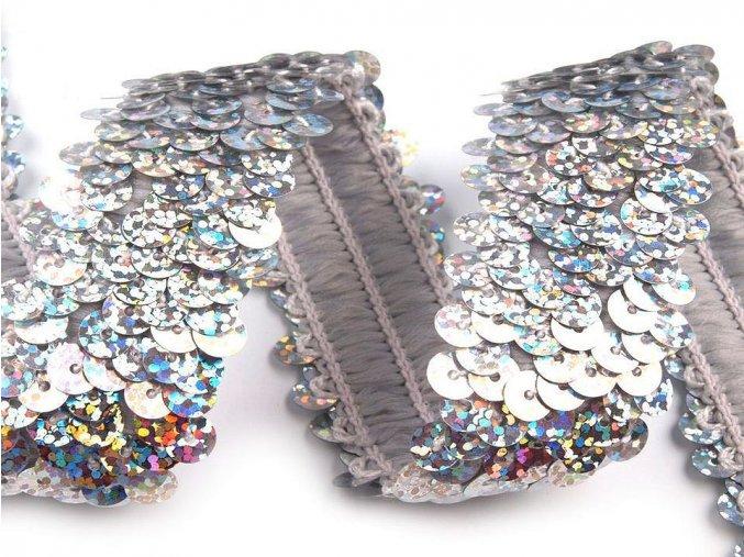 flitrový elastický prýmek stříbrný
