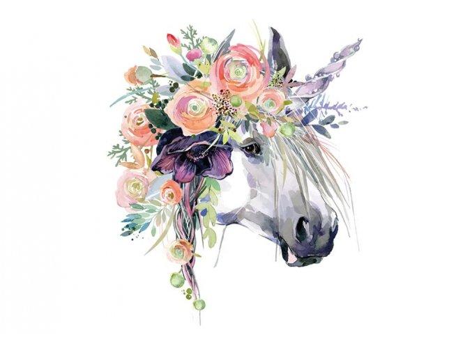 nažehlovací obrázek jednorožec s květy