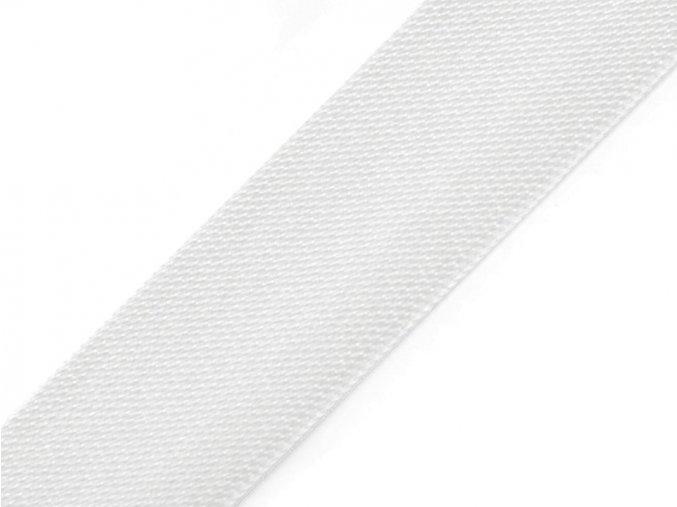 šikmý proužek saténový bílý, 20 mm
