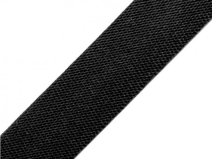 šikmý proužek saténový černý, 20 mm