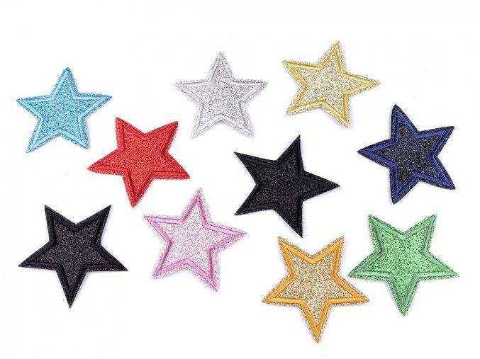 Nažehlovačka Hvězda s glitry, 65 mm