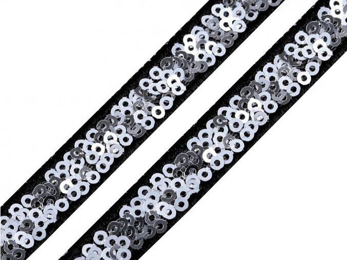 prymek černý se stříbrnými flitry