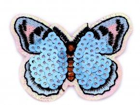 nažehlovačka s flitry motýl světlý