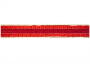 stuha červenozlatá s pruhem, 25 mm
