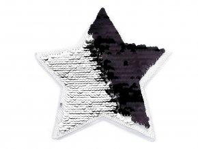 flitrová nášivka hvězda stříbrná