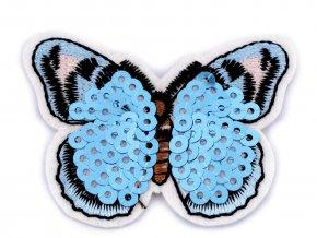 nažehlovačka motýl flitrový bilý