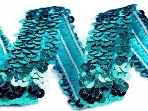 flitrový prýmek prožný tyrkysový