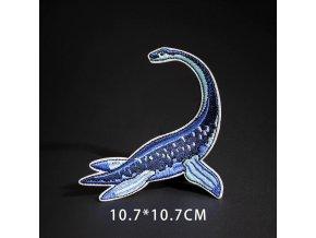 nažehlovačka plovoucí dinosaurus modrý