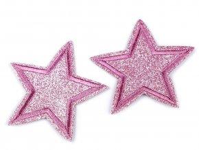 nažehlovačka hvězda s glitry růžová větší