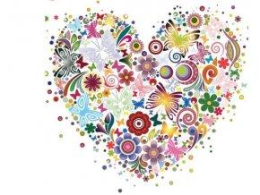 nažehlovací obrázek srdce z květů