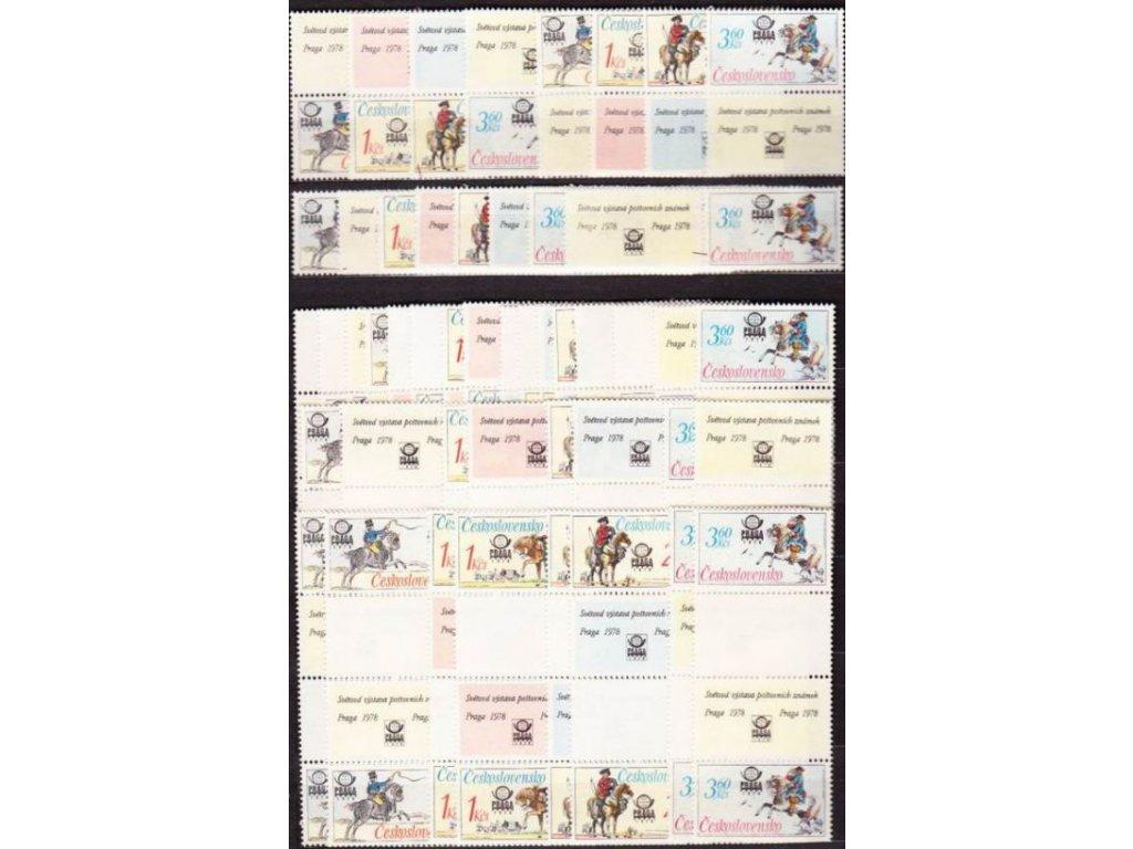 1977, 60h-3,60Kčs Postilión,sestava 40 ks variant spojek a kupónů,Nr.2253-6, **